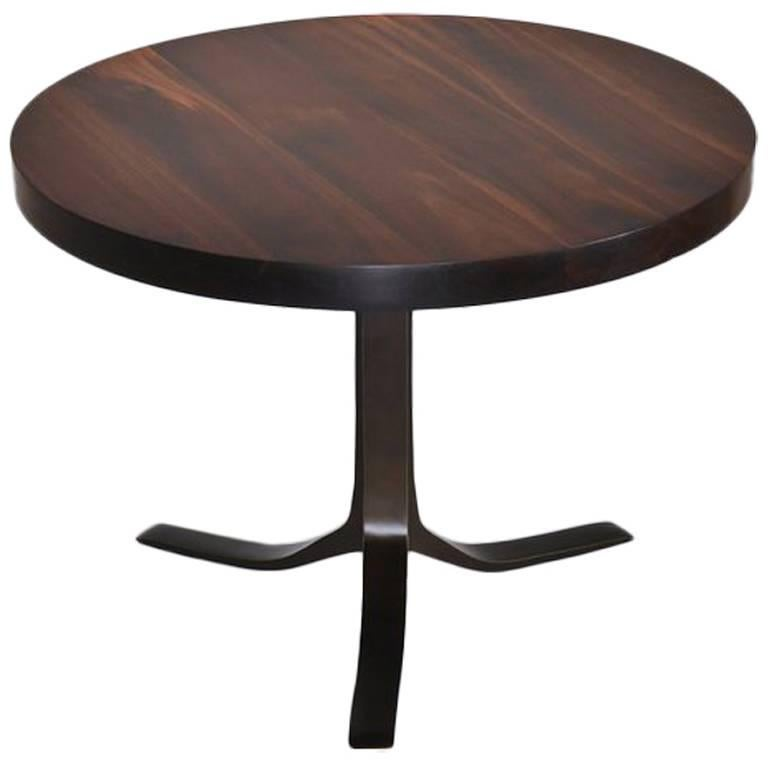 Bespoke Round Table, Reclaimed Hardwood with Brown Brass Base by P. Tendercool