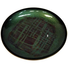 Copper and Green Enamel Dish by Arne Tjomsland, Norway