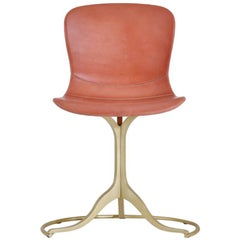 Bespoke Sand Cast Brass Chair in Vieux Rose Leather, by P. Tendercool
