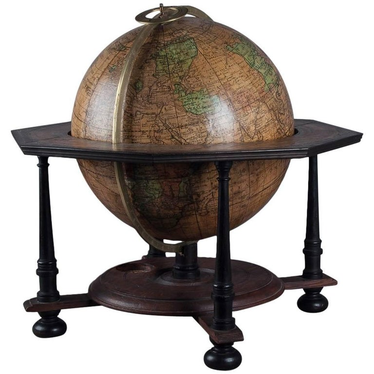 Large Terrestrial Globe by Doppelmayr Engraved by Puschner