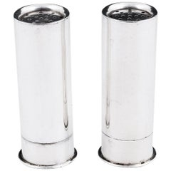 Mappin & Webb Sterling Silver Shotgun Cartridge Salt and Pepper Shakers