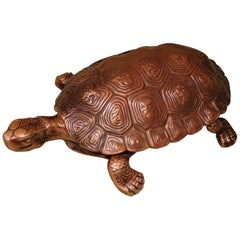 19th Century Well Modelled Bronze Tortoise Inkwell