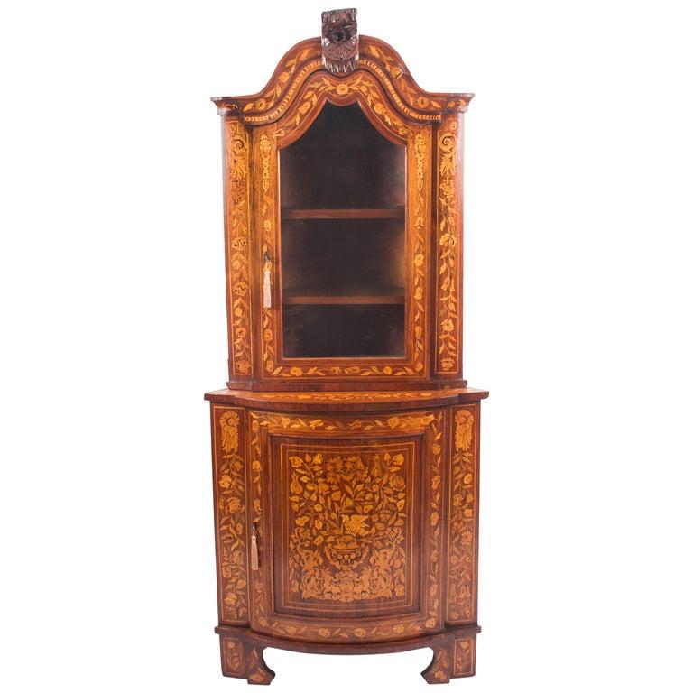 18th Century Dutch Walnut & Floral Marquetry Corner Cabinet