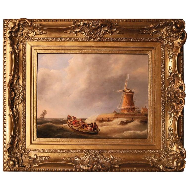 19th Century seascape oil on panel, signed J.C. Schotel