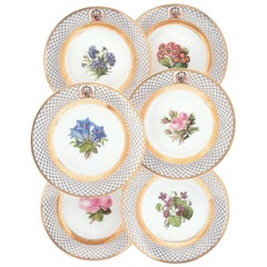 Set of Six Hand-Painted Berlin Porcelain Plates of the Holstein-Gottorp Family