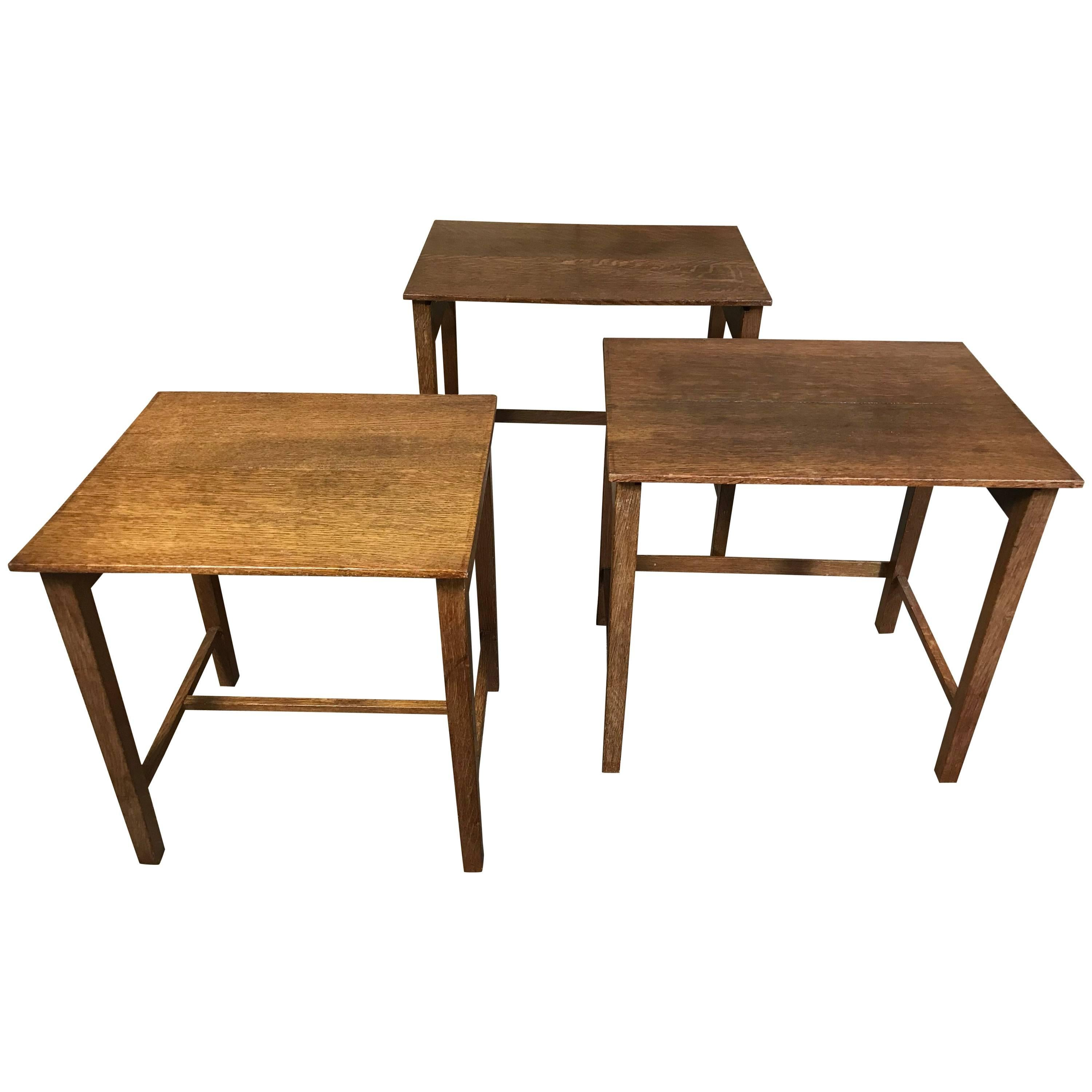 arts u0026amp craft solid vintage oak nest of tables