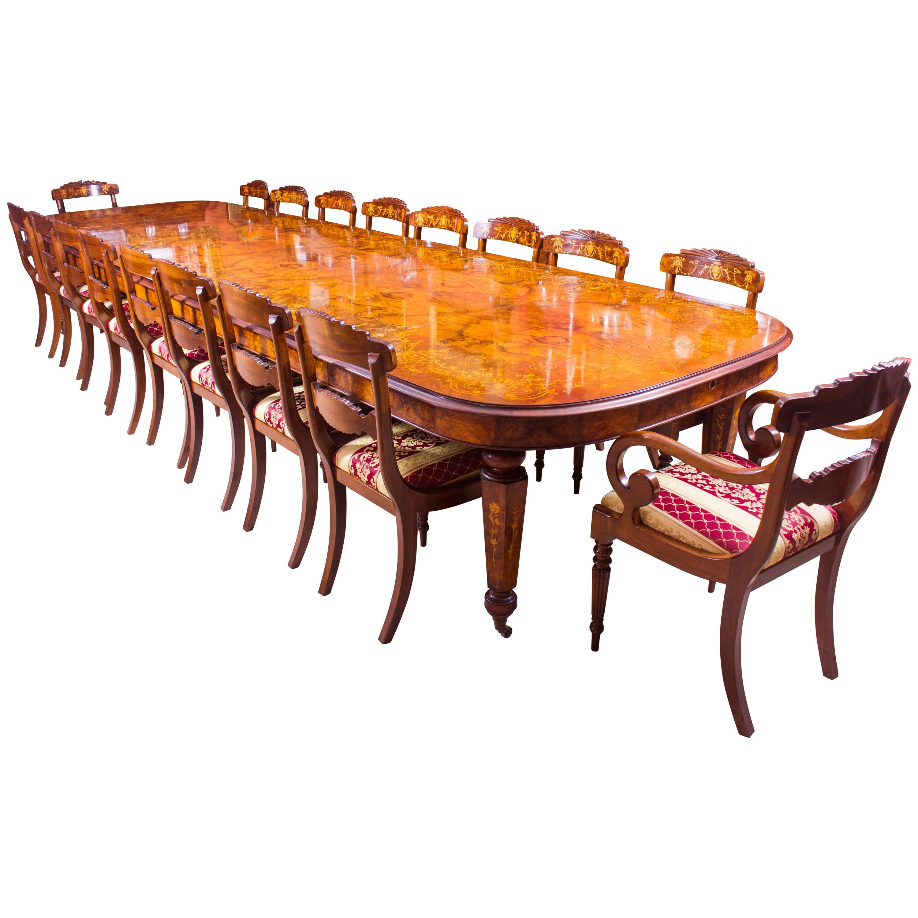 Ordinaire Huge Bespoke Handmade Marquetry Burr Walnut Extending Dining Table 18 Chairs