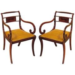 Regency period mahogany rope-twist armchairs