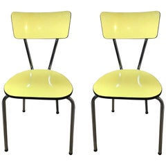 1950s Vintage Retro Yellow and Chrome Melamine Chairs