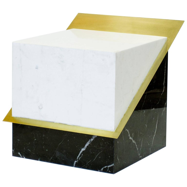 Stool in Black and White Marble and Brass, Limited Edition by O Formigueiro For Sale
