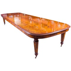 Huge Bespoke Handmade Floral Marquetry Burr Walnut Dining Table