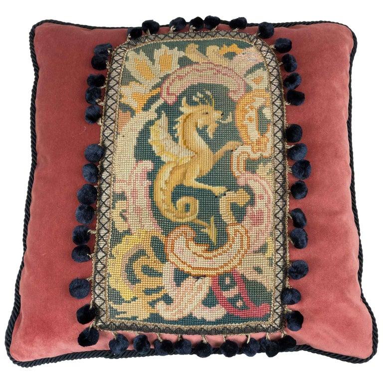 19th Century Griffin Tapestry Pillow on Brown Velvet