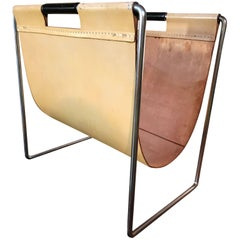 Chrome and Leather Magazine Rack Made by Brabantia Holland