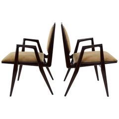 Italian Pair of Angular Midcentury Armchairs