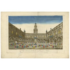 Antique Print of the Royal Stock Exchange in London by J.F. Daumont, 1790