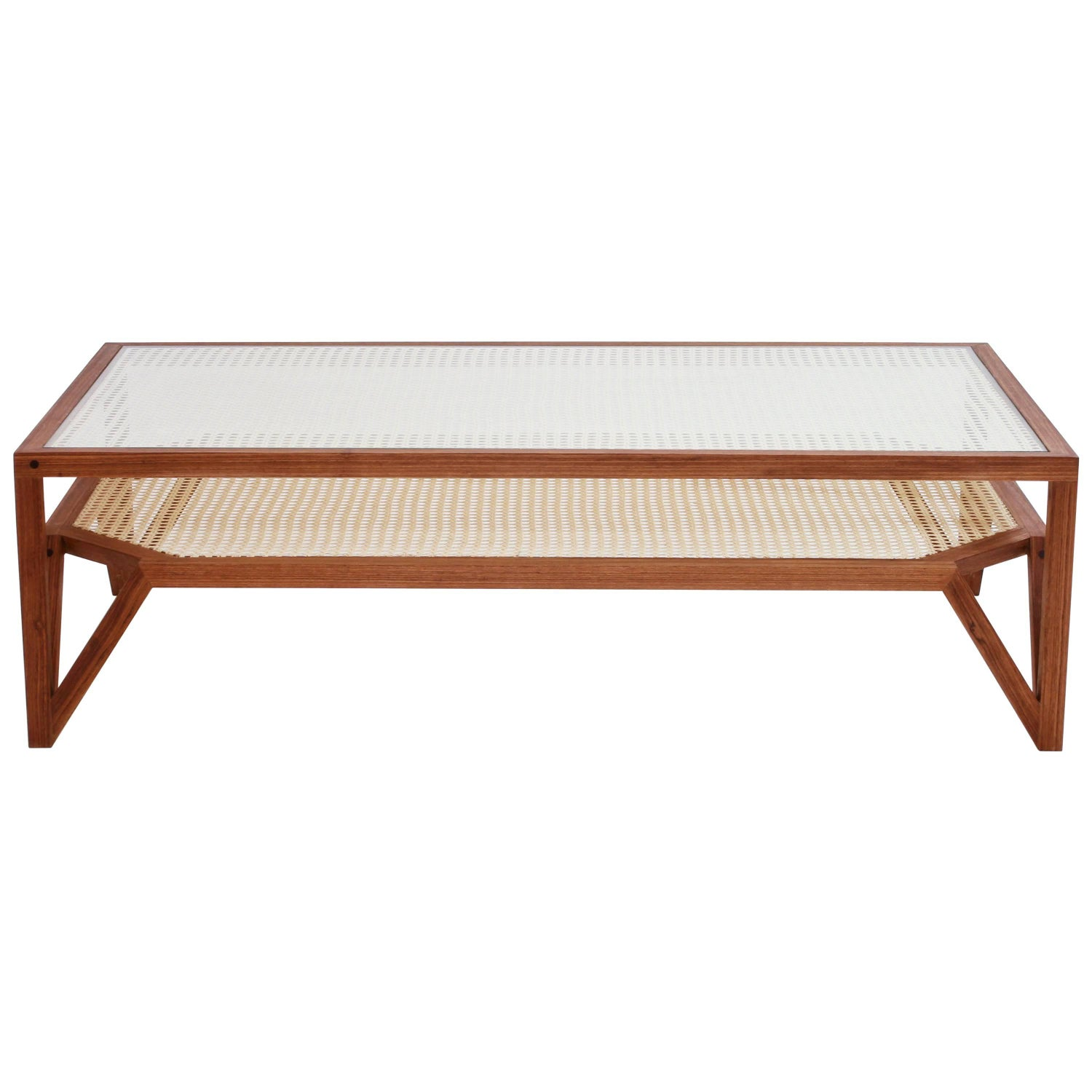 Moiré Wood And Cane Coffee Table By O Formigueiro