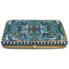Early 20th Century Russian Solid Silver Cloisonné Enamel Purse or Card Case