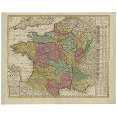 Antique Map of France by J.B. Elwe, 1792