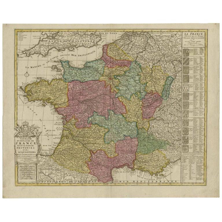 Antique Map of France by J.B. Elwe, 1792 For Sale