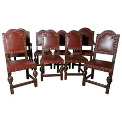Set of Eight Gothic Oak Dining Chairs by Gillows