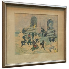 Harry Gottlieb Mixed-Media 1930s Social Realist Street Scene