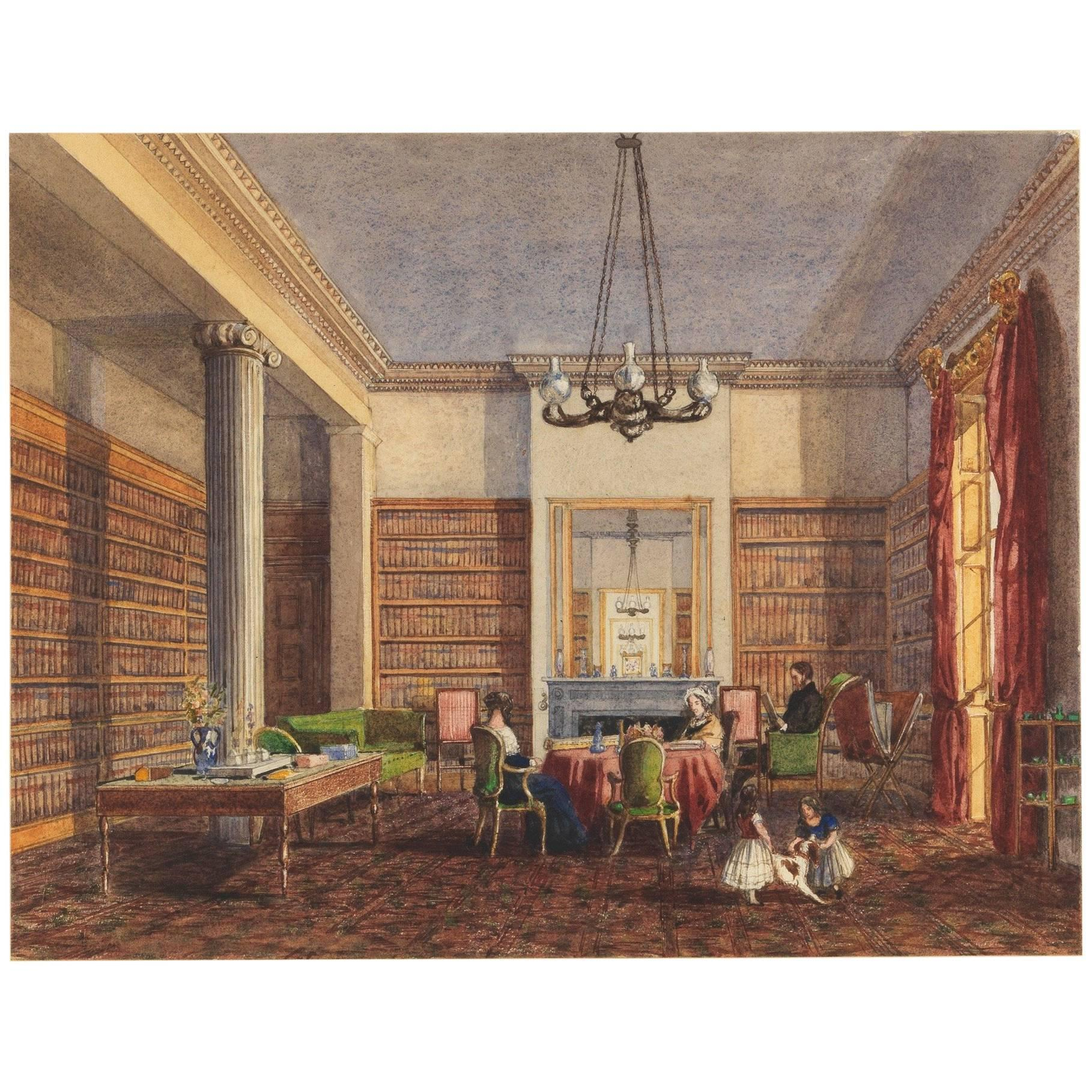 19th Century English Watercolor of the Thirlestaine House Library, Cheltenham
