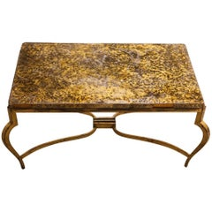 1940s Coffee Table Attributed to Maison Ramsey with Gold Plating