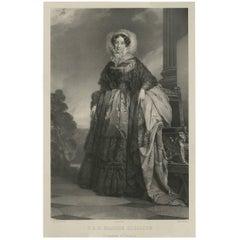 Antique Portrait of Princess Adelaide d'Orléans by H. Grevedon, 1842