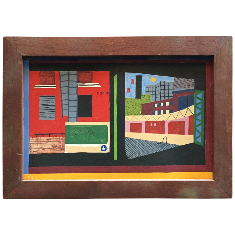American Realist Proto Pop Industrial Painting in the Style of Stuart Davis