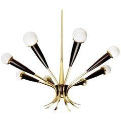 Large Italian Brass Sputnik Sputnik Chandelier, Stilnovo Gio Ponti Era