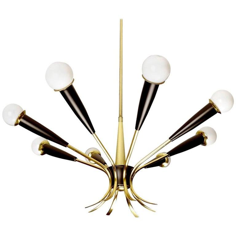 Large Italian MidCentury 8-Lights Brass Sputnik Sunburst Chandelier, 1950s