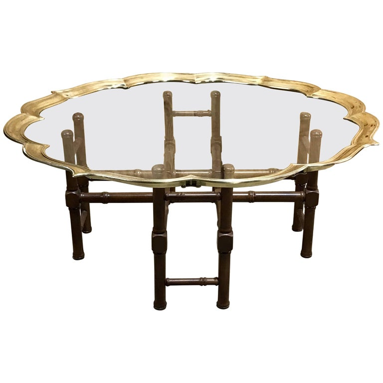 Italian Faux Bamboo Campaign Style Brass and Glass Coffee Table