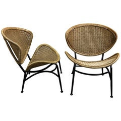 Pair of Midcentury Crescent Shaped Wicker Lounge Chairs, Restored