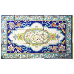 19th Century Turkish Iznik Birds and Flowers Ceramic Panel