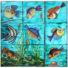 "1950s Depalmas ""Underwater"" French Glazed Ceramic Panel"