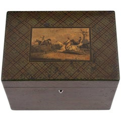 Antique Tartan Ware Steeple Chase Horses Equestrian Tea Caddy, 19th Century