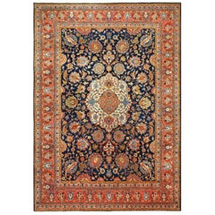 Navy Background Large Antique Tabriz Persian Rug