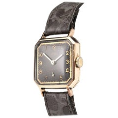 Vintage Trebex 9-Carat Gold Wrist watch with Leather Strap
