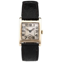 Art Deco Gold Ovida Square Wrist Watch with Leather Strap
