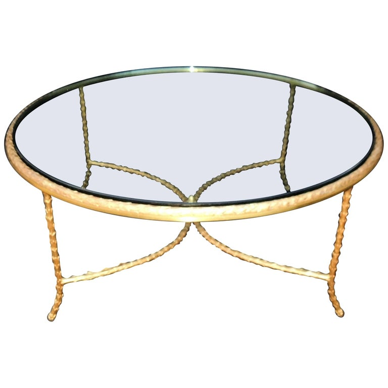 Wonderful French Gilt Bronze Leaf Round P.E. Guerin Glass Coffee Cocktail Table