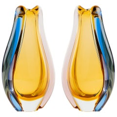 Pair of Czech Republic Mid-Century Modern Sommerso Glass Vases