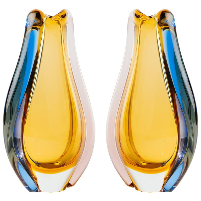 Pair Of Czech Republic Mid Century Modern Teardrop Gl Vases For