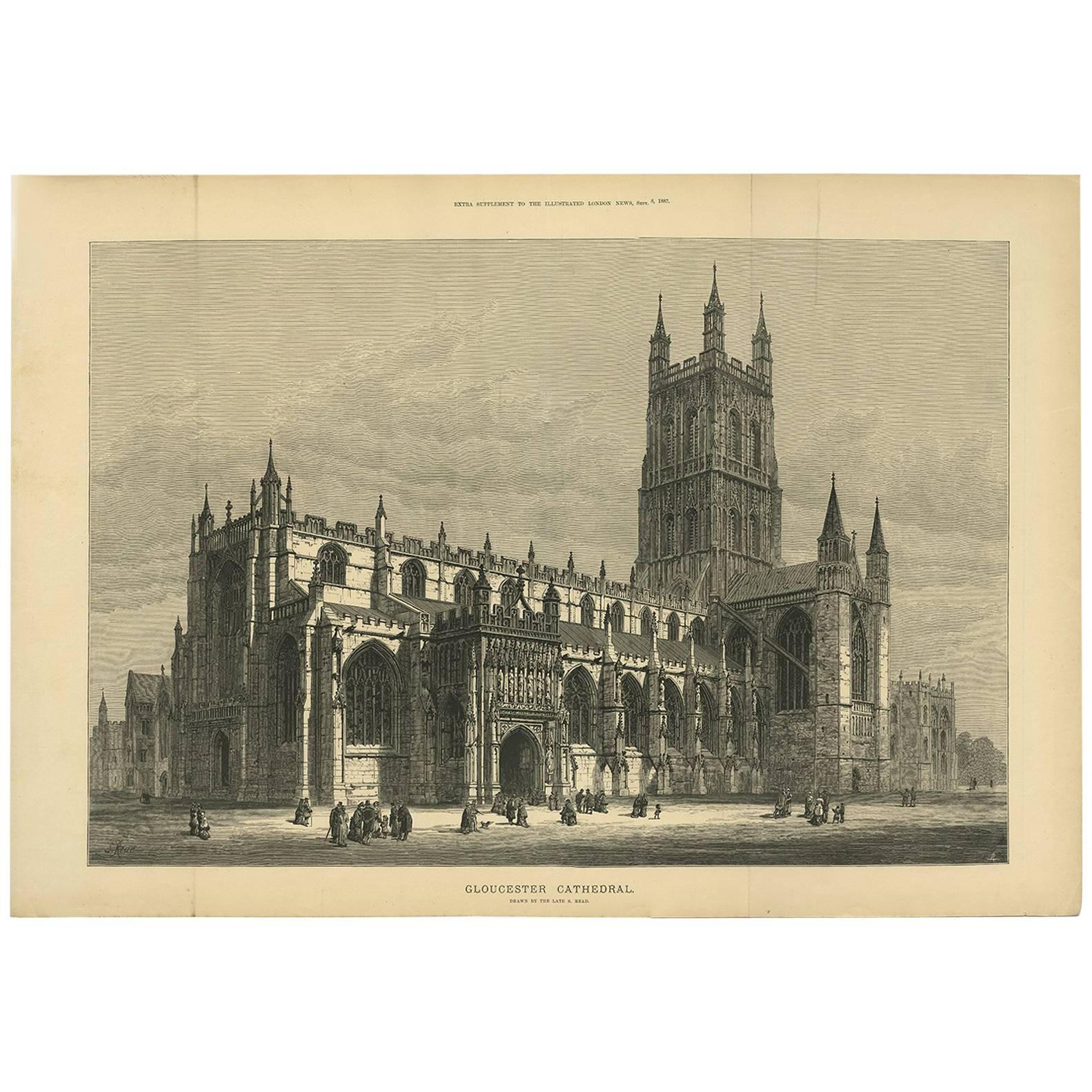 Worcester Scenes Around The Cathedral Art Antique Print 1881