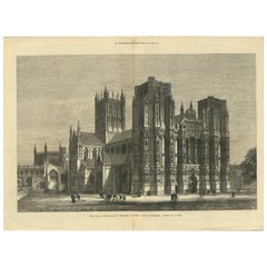 Antique Print of Wells Cathedral from the Illustrated London News, 1879
