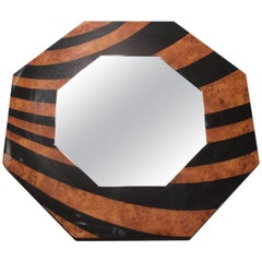 Octagon Shaped JC Mahey Mirror in Black and Elm Burr Lacquer, 1970s