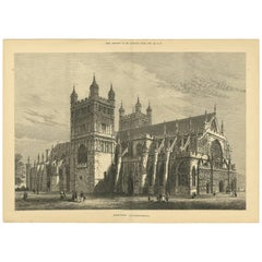 Antique Print of Exeter Cathedral from the Illustrated London News, 1877