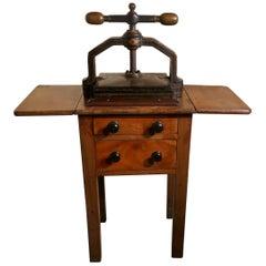 19th Century Cast Iron Flower or Book Press on Original Mahogany Table