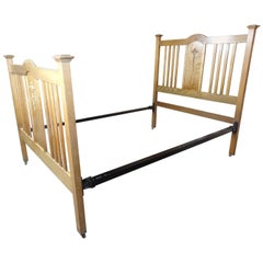 Stunning Antique Arts & Craft Solid Oak Double Bed