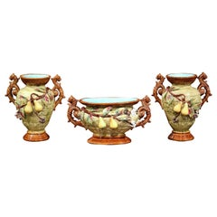 19th Century Three-Piece Set Barbotine Vases and Matching Jardinière with Pears