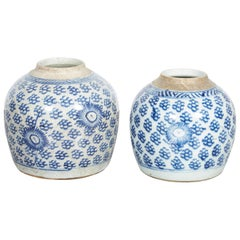 Antique Chinese Blue and White Porcelain Ginger Jars